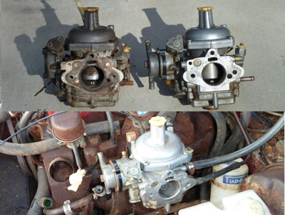 january 30, 2011 - as you can see by the photo (top left), the car's  carburetor had suffered greatly  besides looking ugly, the shafts were  binding and the